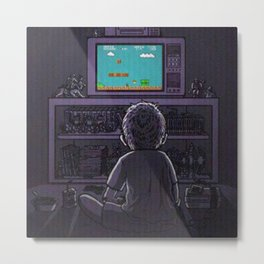 Kid playing Super Mario Bros. Metal Print
