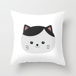Cat with white fur and black hair Throw Pillow