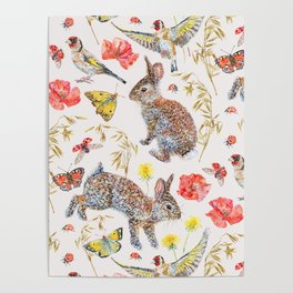 Bunny Meadow Pattern Poster