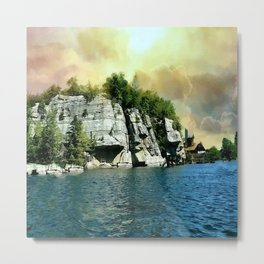 Golden Sky Over the Mountain - Mohonk Metal Print