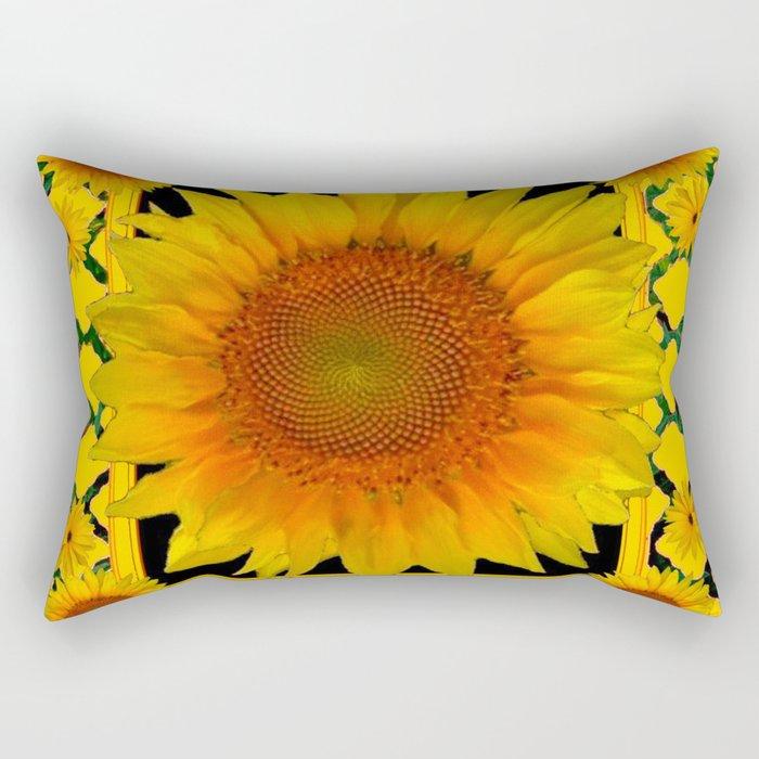 ORNATE SUNFLOWER RED-YELLOW PATTERN Rectangular Pillow