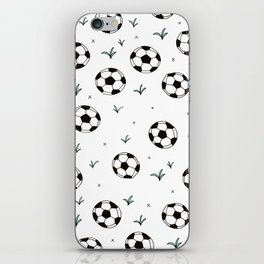 Fun grass and soccer ball sports illustration pattern iPhone Skin