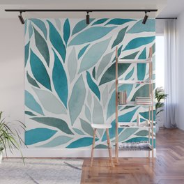Abstract Watercolour Leaves Wall Mural