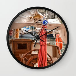 red roped boat Wall Clock