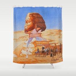 Sphinx Day 1925 Vintage Beautiful Japanese Woodblock Print Hiroshi Yoshida Shower Curtain