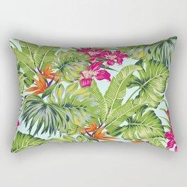 Bird of Paradise Greenery Aloha Hawaiiana Rainforest Tropical Leaves Floral Pattern Rectangular Pillow