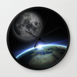 Earth and moon Wall Clock