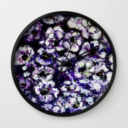 White Flowers on Purple Background Wall Clock