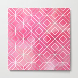 Geometric Crystals: Rose Petal Metal Print