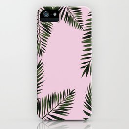 Watercolor tropical palm leaves pink iPhone Case