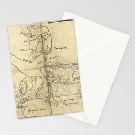 Vintage Newport News and Hampton Roads Map (1800) Stationery Cards
