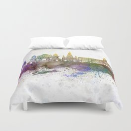 Chennai skyline in watercolor background Duvet Cover