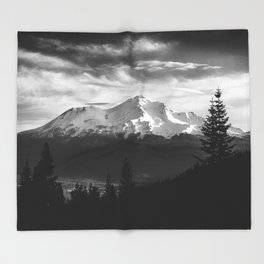 Mount Shasta Morning in Black and White Throw Blanket