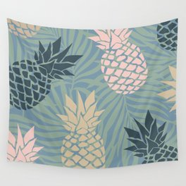 Tropical Pineapple and Palm Abstract Pattern Wall Tapestry