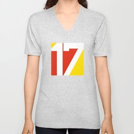 17 in Red and Gold Unisex V-Neck