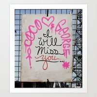 rileigh smirl Art Prints featuring I Will Miss You-NYC by Rileigh Smirl