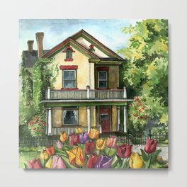 Farmhouse with Spring Tulips Metal Print