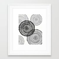 tree rings Framed Art Prints featuring rings by Claire Rose Kleese