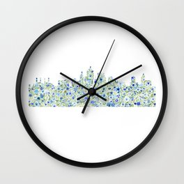 Kansas City Skyline Floral Watercolor Wall Clock