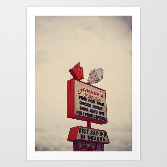 Jimmies Dairy Bar Sign Art Print