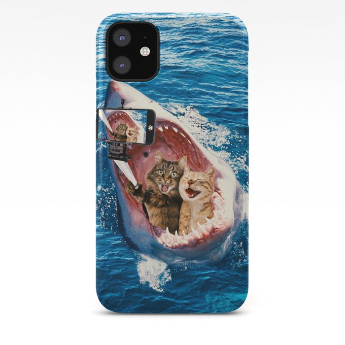 Cat Selfie Selfie In The Great White Shark Jaw Iphone Case By Jcdesigning