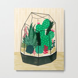 Terrarium - Geodesic Plant for Succulents and Cactus by Andrea Lauren Metal Print