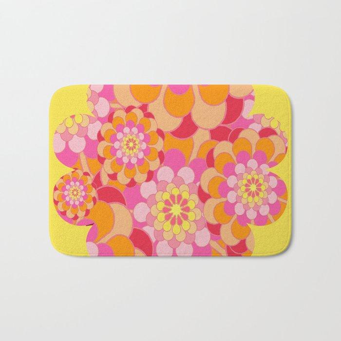 Summer Essence Bright Hippy Flowers On Yellow Bath Mat
