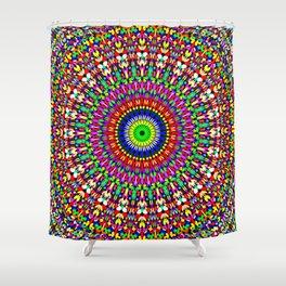 Vibrant Flower Garden Mandala Shower Curtain
