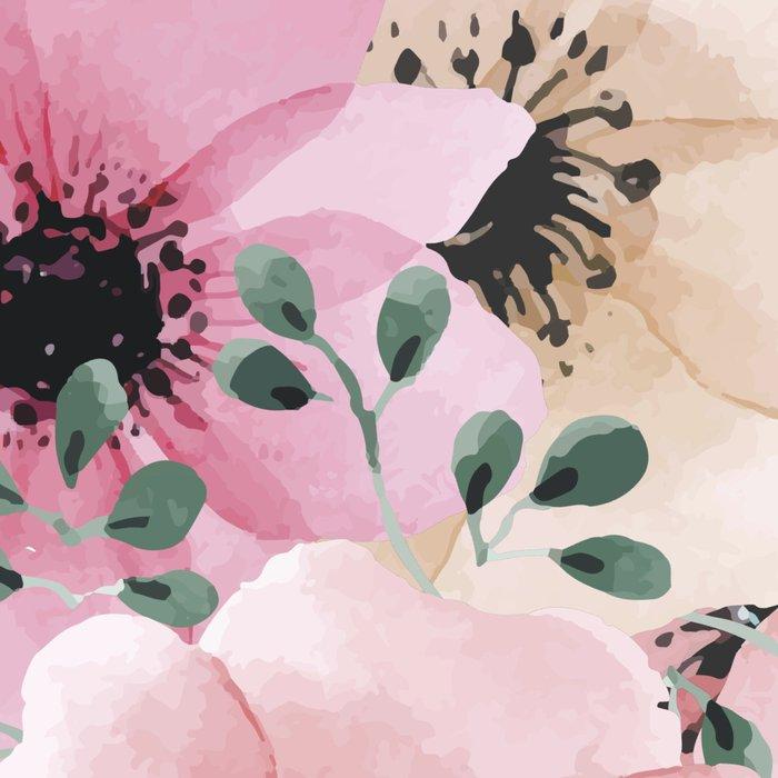 Pink and Peach Watercolor Flowers Leggings