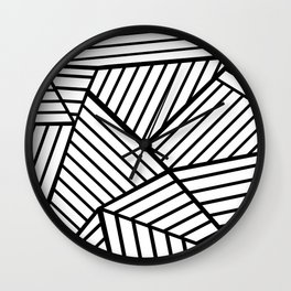 Abstraction Lines Close Up Black and White Wall Clock