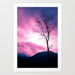 Into the Pink & Purple Sky  - JUSTART © Art Print