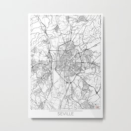Seville Map White Metal Print