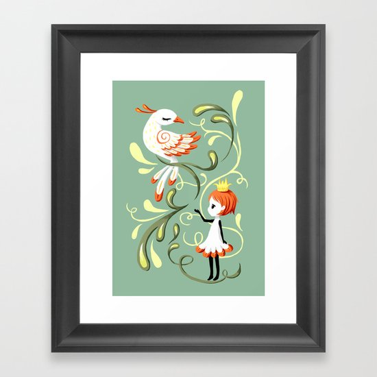 Princess and a Bird Framed Art Print