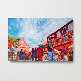 Man walks by Christ Church Melaka Metal Print