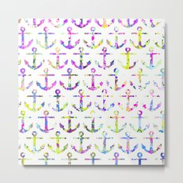 Hipster Yellow Purple Nautical Anchors Watercolor Metal Print