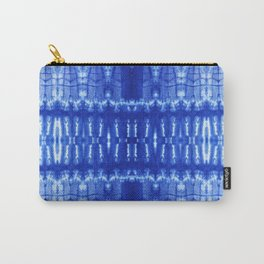 tie dye ancient resist-dyeing techniques Indigo blue textile abstract pattern Carry-All Pouch