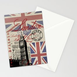London Great Britain Big Ben Flag Collage #Society6Art Stationery Cards