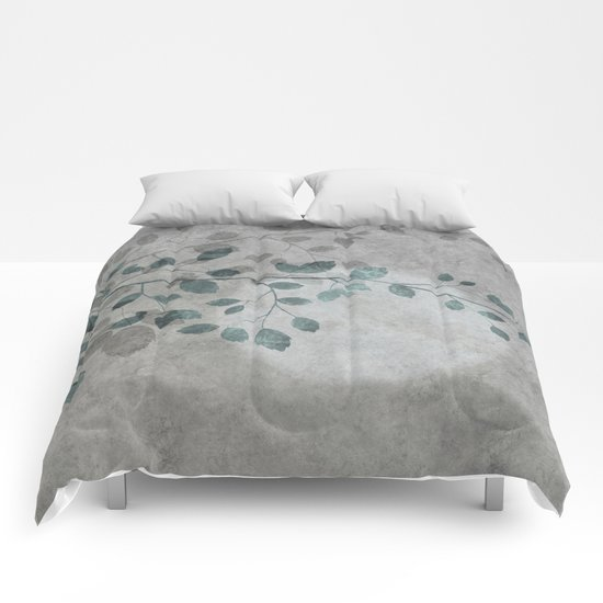 Pale moon mixed media illustration Comforters
