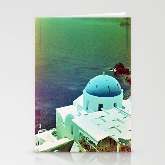 Blue Dome Church, Santorini: Shot with a Nikon FM2 and Revolog 600nm film Stationery Cards