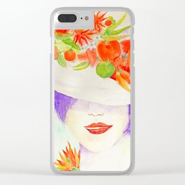 Watercolor Chilli Girl Fashion, Chilli Hat Clear iPhone Case