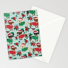 Dachshund christmas sweater florals poinsettia holiday red and white santa hat for dog lover Stationery Cards