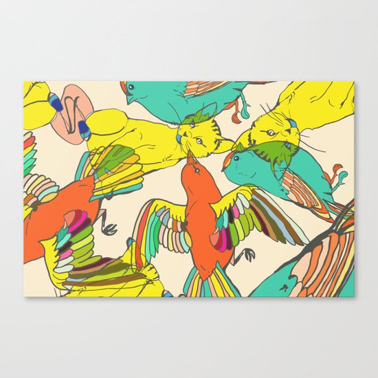 CATS AND BIRDS Canvas Print