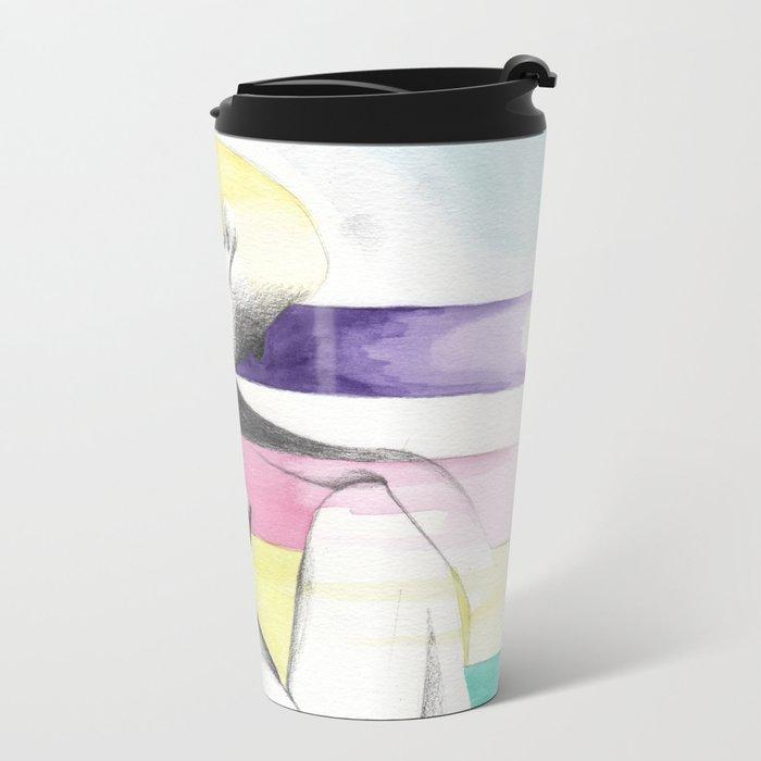 pensive rainbow woman Metal Travel Mug