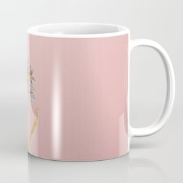 Prismatic Alpine Squill Botanical Mosaic - Gold on Pink Coffee Mug