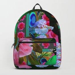 PINK ROSES & GREEN PEACOCK GARDEN FLORAL ART Backpack