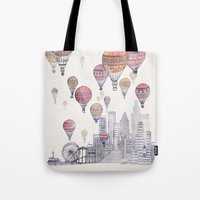 santa monica Tote Bags featuring Voyages Over Santa Monica by David Fleck