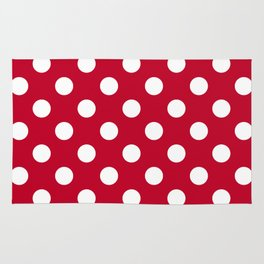 Red and Polka White Dots Rug