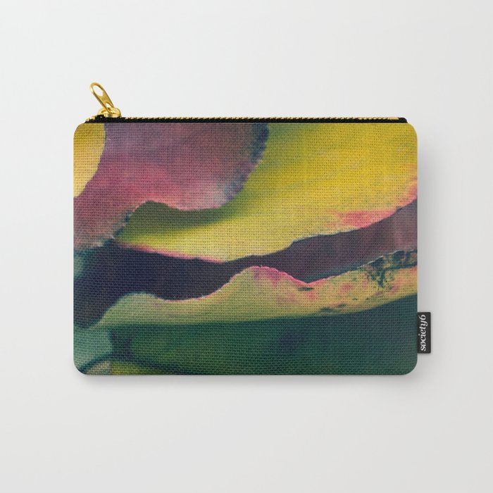 Fall Leaves II - Yellow, Lime Green, Red Purple Carry-All Pouch