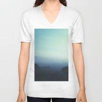 fog V-neck T-shirts featuring Fog by MARY SCHUMACHER