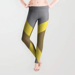 Grey Yellow Brown X Shape Design Solid Colors 2021 Color of the Years and Accent Hue Leggings